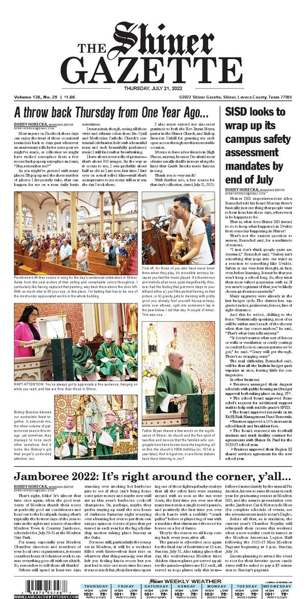 The Shiner Gazette e-Edition